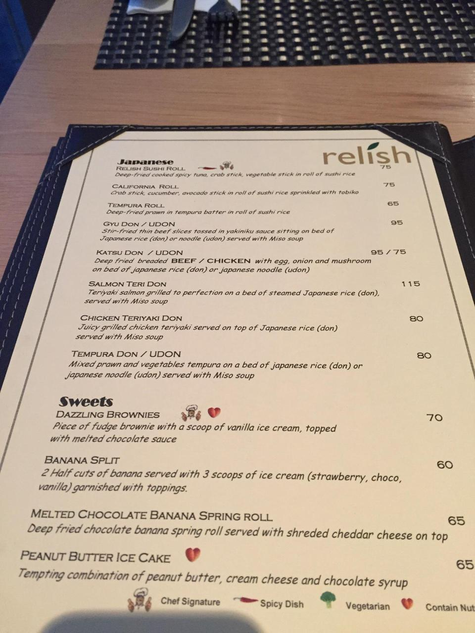 Menu Relish Restaurant